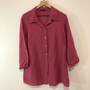 Cut Loose mauve button down 100% linen tunic M